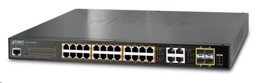 Planet GS-4210-24P4C PoE+ switch 28x 10/100/1000Base-T, 802.3at do 220W, VLAN, SNMP/WEB