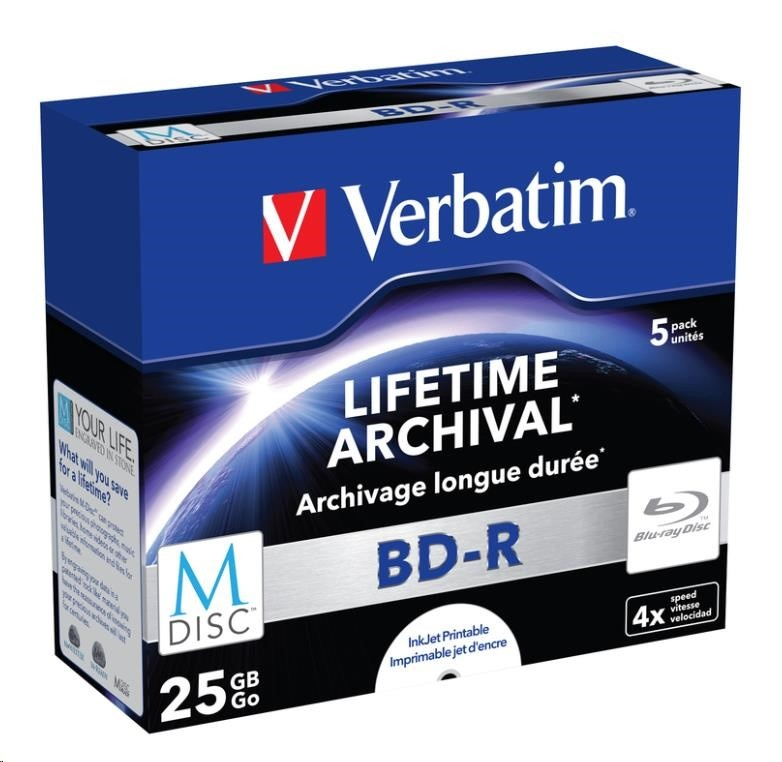 VERBATIM MDisc BD-R(5-pack)Jewel/4x/25GB