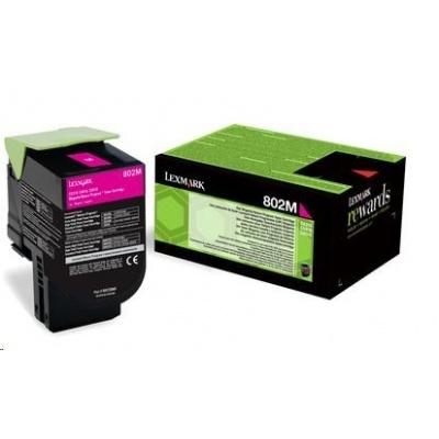 LEXMARK magenta toner 802M pro CX310/410/510 z programu Lexmark Return (1000 stran)