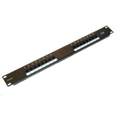 """19"""" Patch panel XtendLan 16port, UTP, Cat5E, 30µm, duální svorkovnice, černý"""