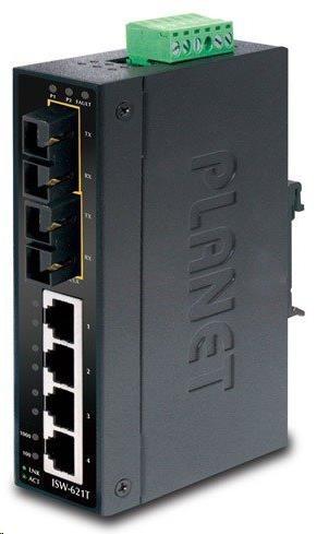 Planet switch ISW-621TS15, průmysl.verze 4x10/100+2x100BaseFX (SC) SM 15km, DIN, IP30, -40 až 75°C, 12-48V
