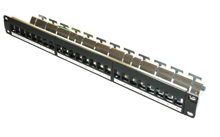 """19"""" modulární patch panel XtendLan 24port, černý - pro Cat6A keystone"""