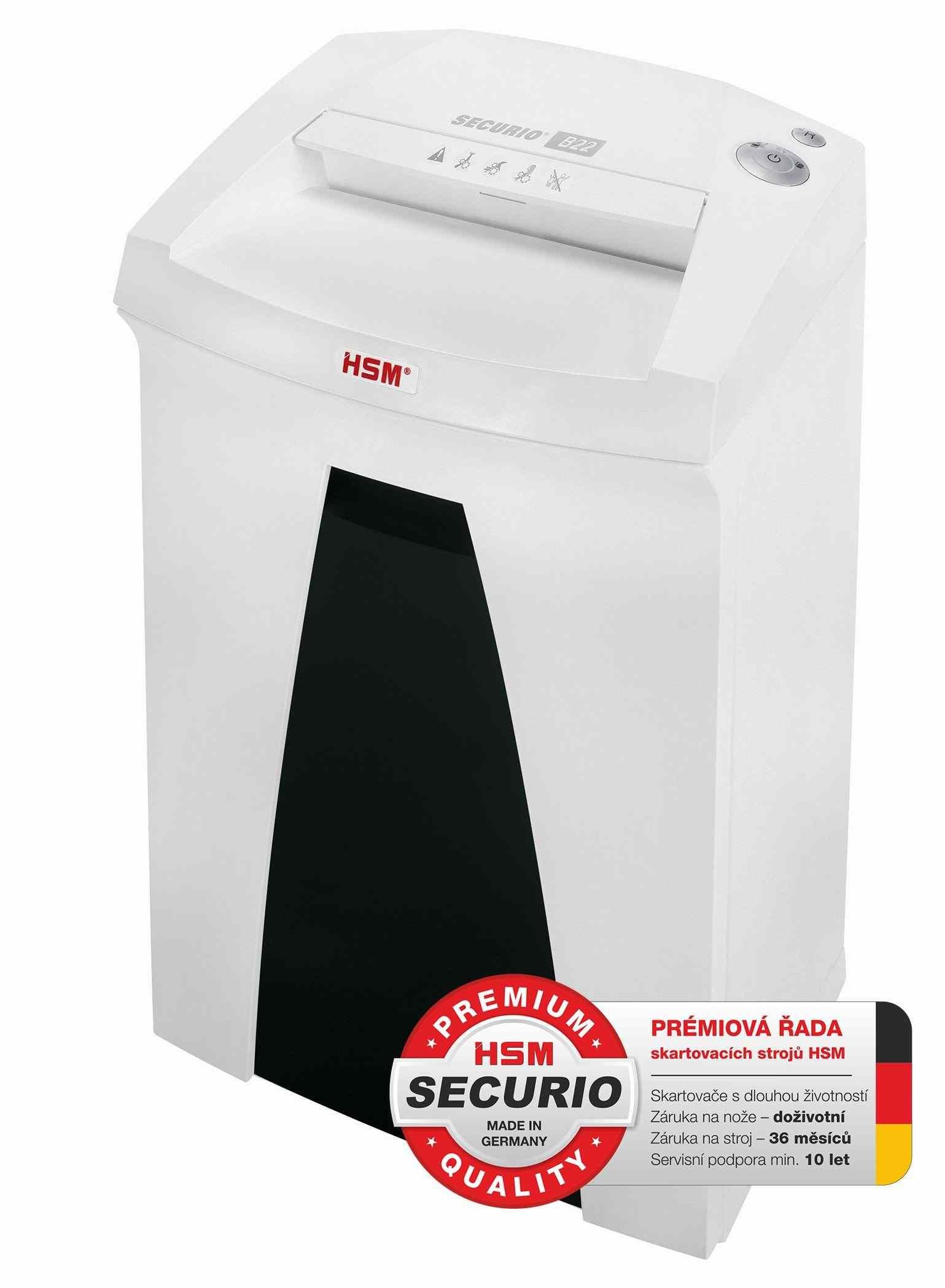 HSM skartovač Securio B22 (řez: Podélný 5.8mm   vstup: 240mm   DIN: P-2 (2)   papír, sponky, plast. karty, CD)