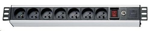 """19"""" rozvodný panel 7x230V, ČSN, přepěťová ochrana, vypínač, indikátor napětí, kabel 1,8m, výška 1.5U"""