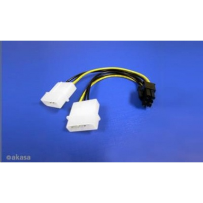 AKASA Kabel  redukce napájení z 2x MOLEX ATX na 6pin PCIe, 10cm