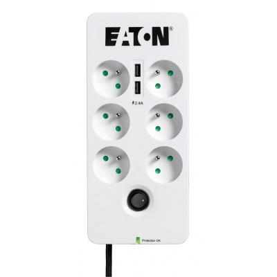 Eaton Protection Box 6 USB FR, přepěťová ochrana, 6 zásuvek, 2x USB nabíječka, 1m