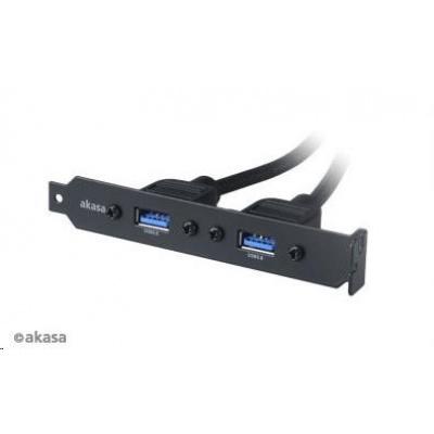 AKASA kabel rozbočovací USB 3.0. interní USB 3.0 na 2x USB 3.0 Female Type-A do PCI bracketu, 40cm
