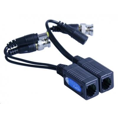 HIKVISION TVI-209PV pár převodníků (balun) TurboHD (HD-TVI, Analog) na UTP vč. napájení, 2 kusy (samec+samice)