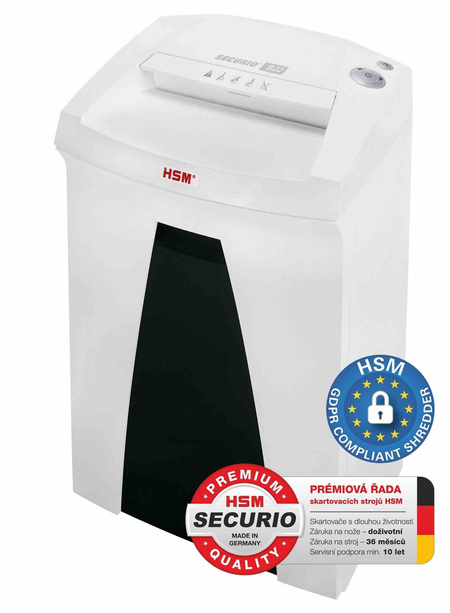 HSM skartovač Securio B22 (řez: Kombinovaný 1,9x15mm | vstup: 240mm | DIN: P-5 (4) | papír, sponky, plast. karty )