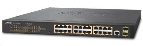 Planet GS-4210-24P2S PoE+ switch 24x 10/100/1000Base-T, 802.3at do 300W, VLAN, SNMP/WEB