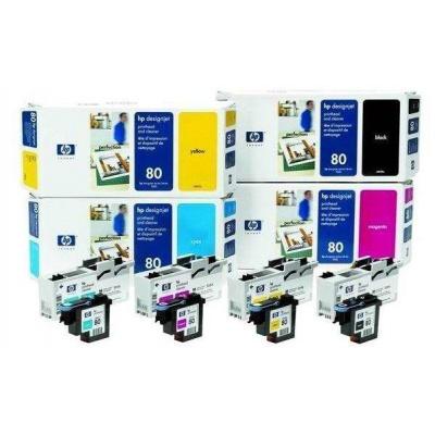 HP 80 Yellow Printhead + Printhead Cleaner, C4823A