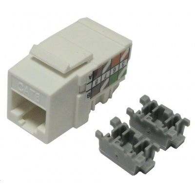 Keystone Cat6, UTP, duální svorkovnice, bílý