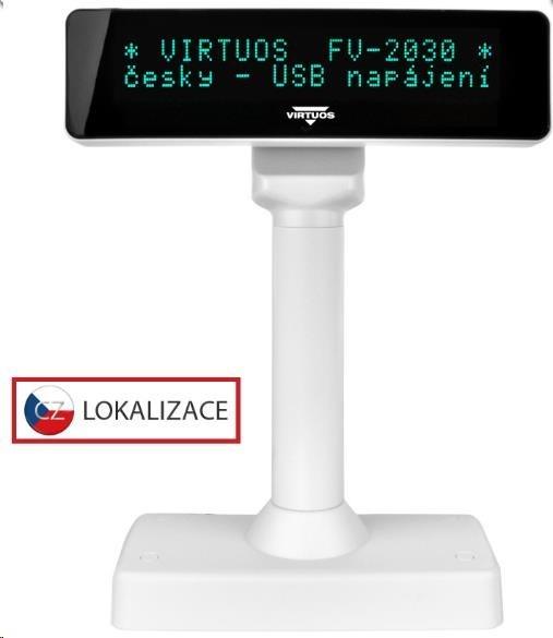 Virtuos VFD zákaznický displej Virtuos FV-2030B 2x20 9mm, USB, bílý