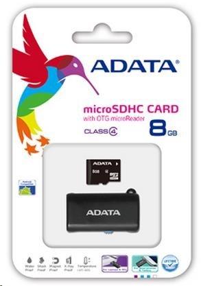 ADATA Micro SDHC karta 8GB Class 4 + OTG čtečka USB 2.0, microUSB