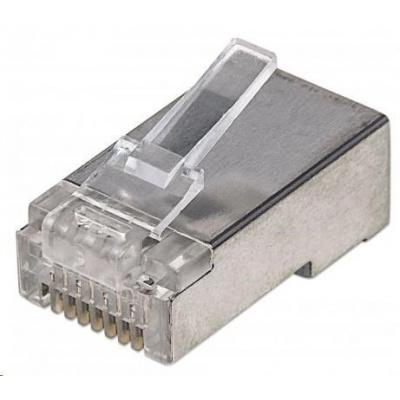Intellinet konektor RJ45, Cat5e, stíněný STP, 15µ, drát, 100 ks v nádobě