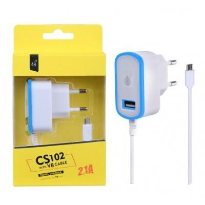 PLUS síťová nabíječka CS102, konektor micro USB + 1x USB, 2,1 A, bílá s modrým okrajem