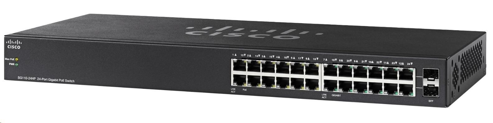 Cisco switch SG110-24HP, 22x10/100/1000, 2xGbE SFP/RJ-45, PoE