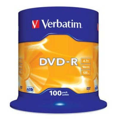 VERBATIM DVD-R(100-Pack)Spindle/General Retail/16x/4.7GB